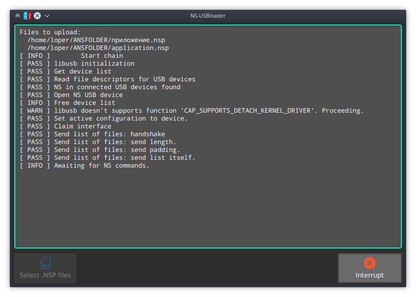 NS-USBloader [EN] ~ Gentoo on the laptop