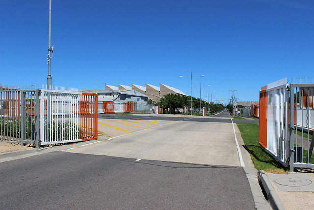 Gates for aircraft level crossing looking south, Essendon Airport