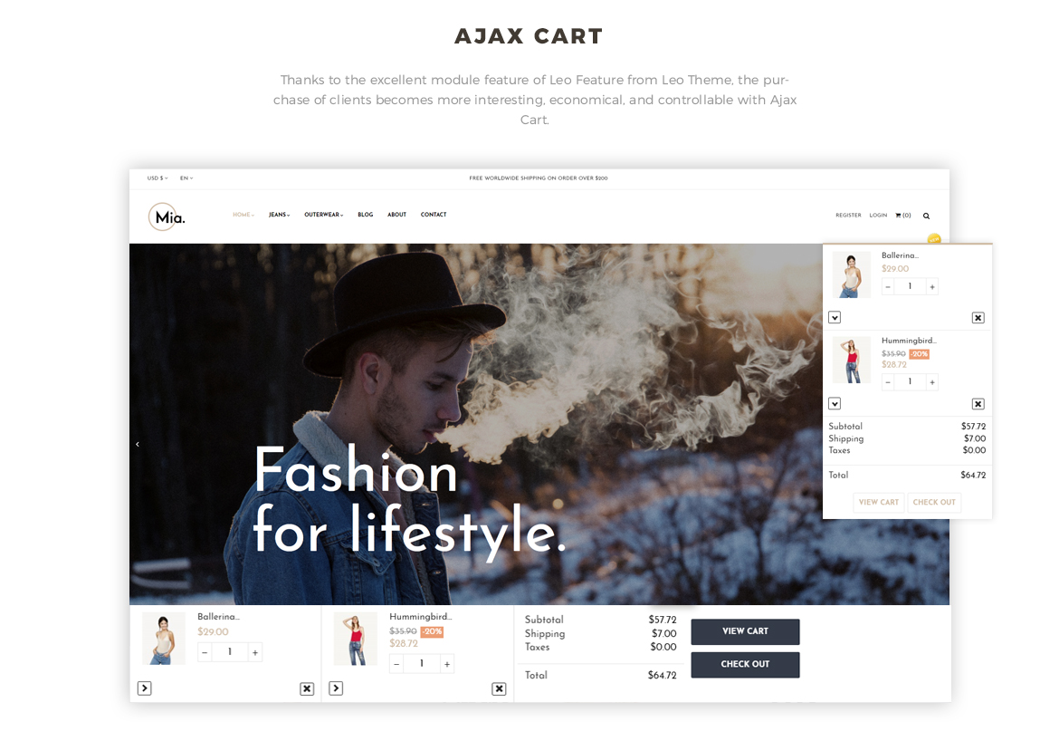 Ajax cart feature - Clothing and Accessories Prestashop theme