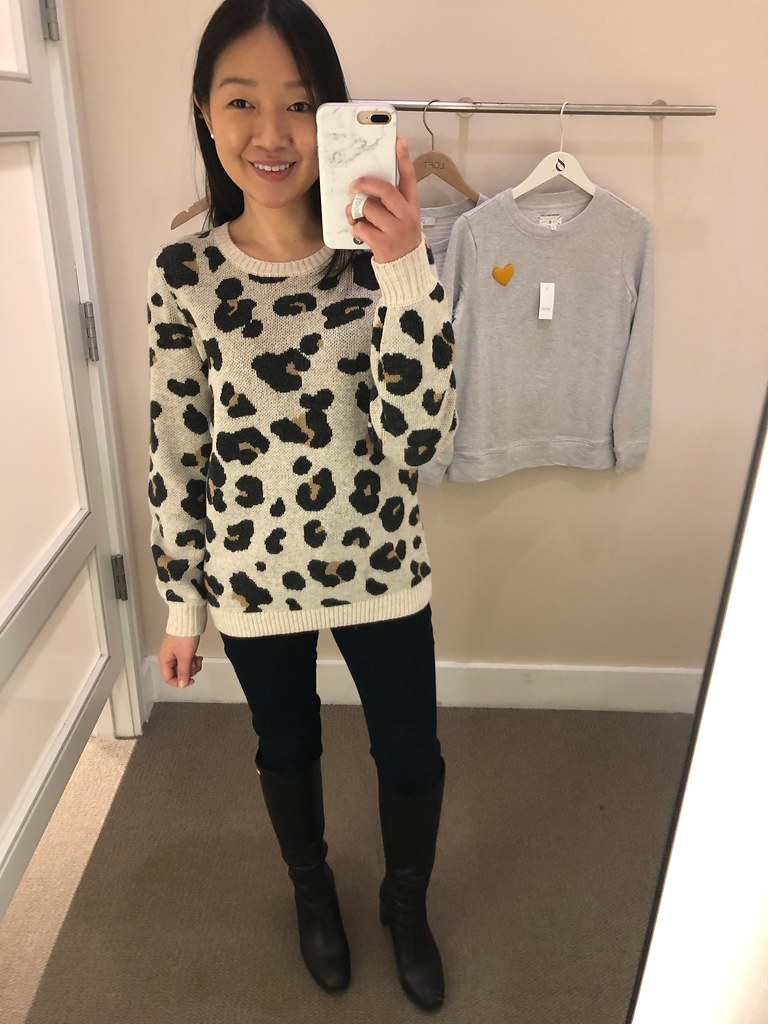 LOFT Leopard Jacquard Sweater, size XS regular