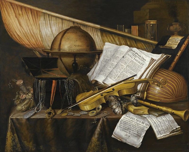Edwaert Collier - A vanitas still life with books and leaflets a globe a princely flag a musical score musical instruments and an hourglass