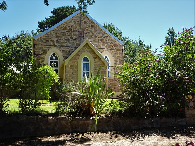 Photo:Macclesfield. The Congregational Church built in 1848 as the stone above the door says is one of the oldest still standing churches in South Australia. Closed in 1927. Now a restored residence. The Davenports attended church here.. By denisbin