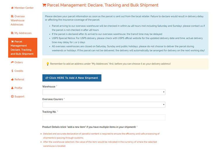 Buyandship Parcel Management