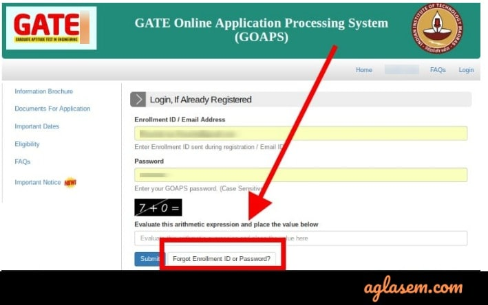 GATE forgot password login