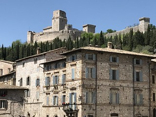 Assisi, Italy - hilltop fortress at the top of the town