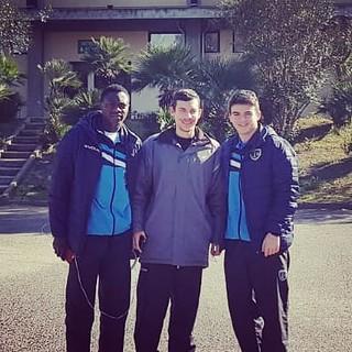 Hassan Arishekola, Antonio Pellegrini e Maurizio Massarelli in trasferta a Cagliari