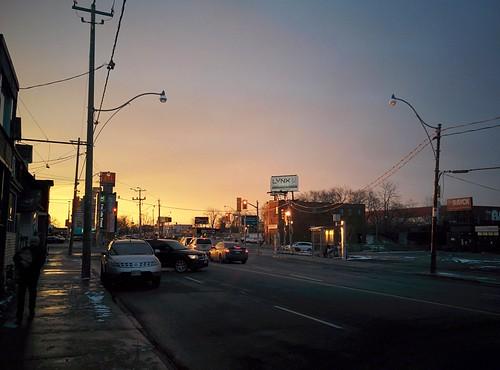 Gold-peach sky to the west #toronto #winter #evening #gold #peach #sky #dufferinstreet #dupontstreet
