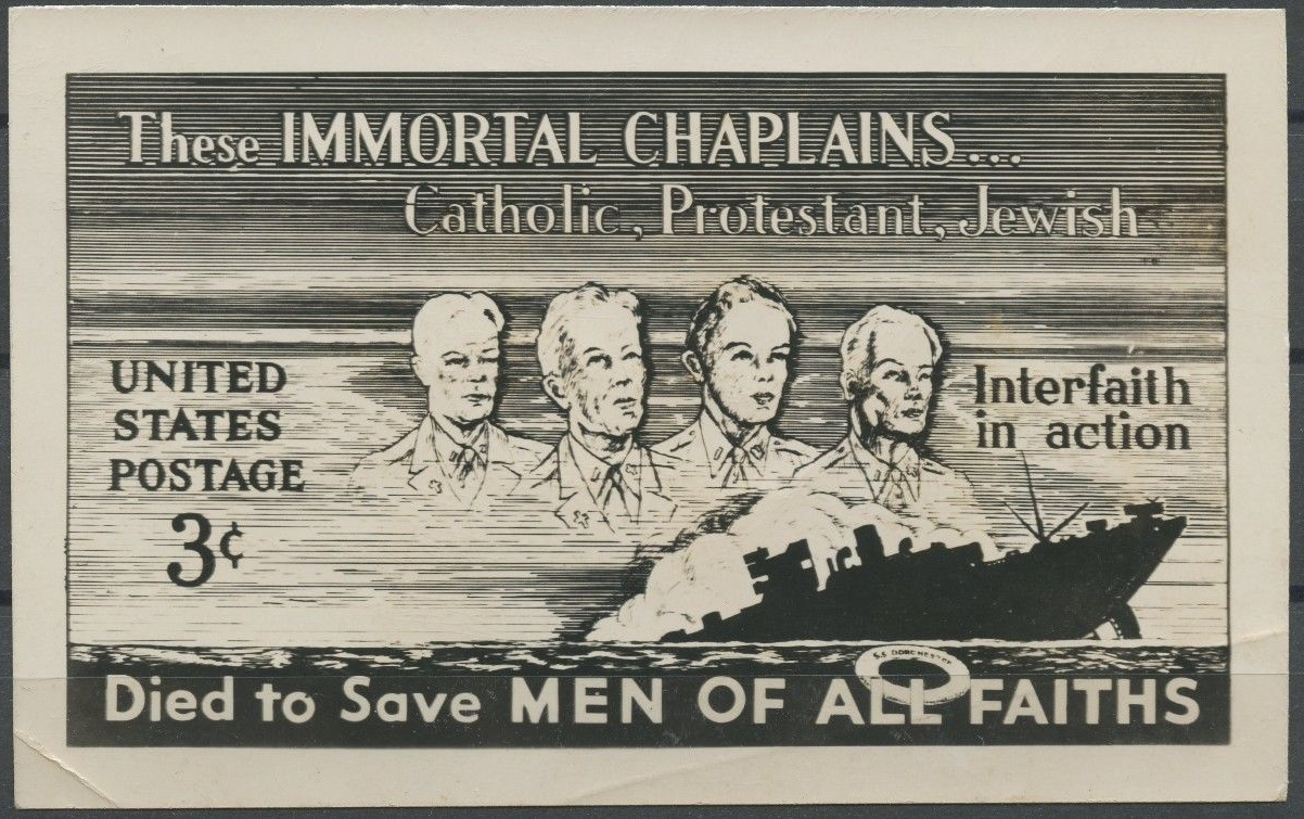Unreleased design for the 1948 Four Chaplains stamp issue; photo essay