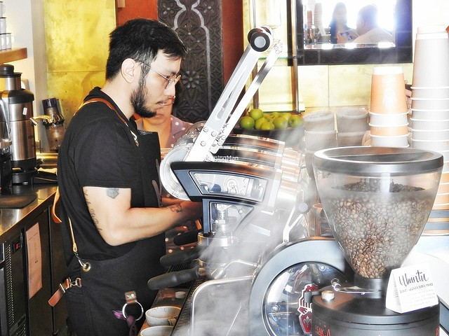 Barista Mark Chan Brewing Coffee