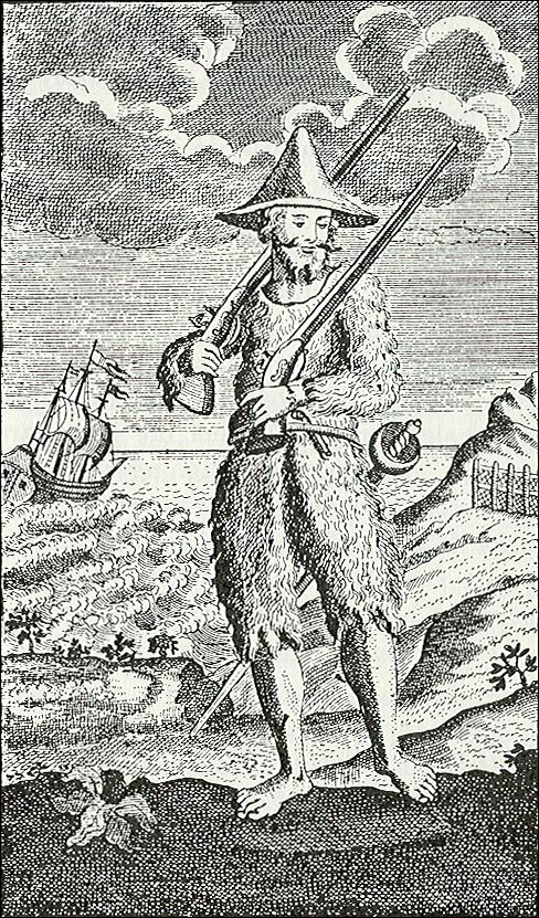 A 1752 illustration of Robinson Crusoe in goatskin clothing shows the influence of Alexander Selkirk