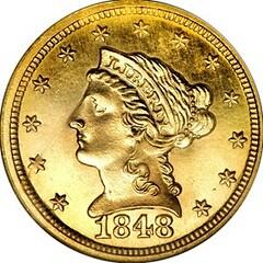 1848 CAL Quarter Eagle obverse