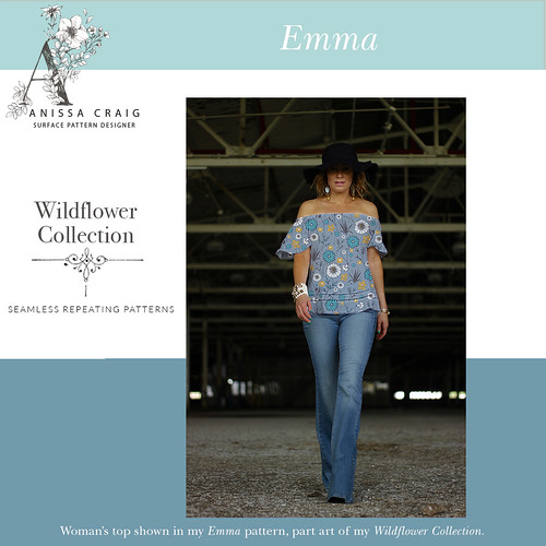 Emma-Womans-Top (Wildflower Collection) Blue