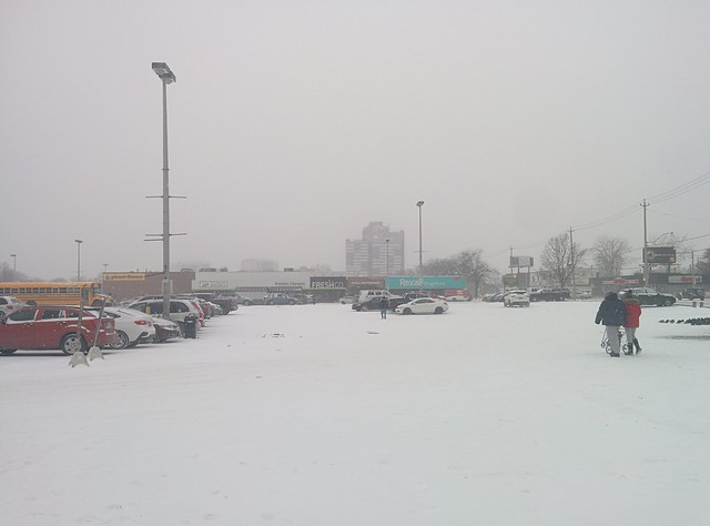 Looking west at the Galleria parking lot, first snow #toronto #dupontstreet #dufferinstreet #galleriamall #parkinglot #winter #white #snow