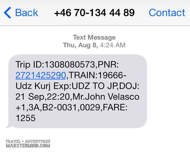 IRCTC Train Booking SMS Message