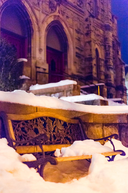 Snowy Cathedral Bench