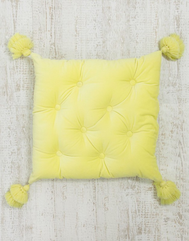 ASOS SUPPLY quilted filled tassel cushion in yellow £18
