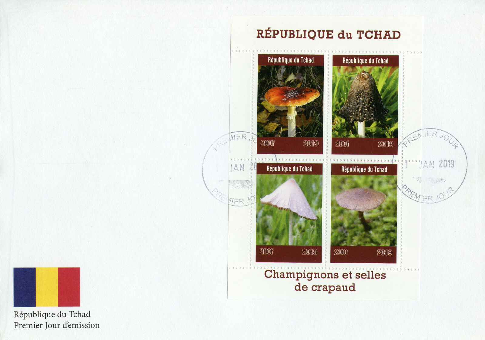 Republic of Chad - Mushrooms and Toadstools (January 1, 2019) first day cover