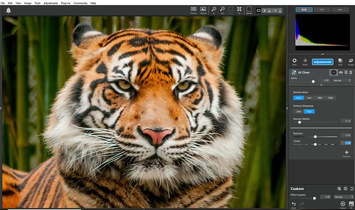 Interface of the AI Clear adjustment in Topaz Studio