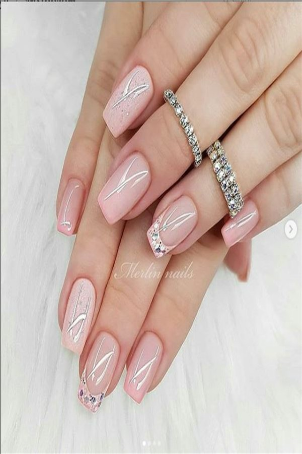 42 Cute And Elegant Wedding Nails Design Ideas 2019 - Fashonails