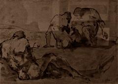 18 - Musée de Colombes - D'ombre et de lumière, Théodule Ribot - Etude de cinq femmes, Lavis d'encre