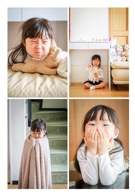 自宅でリラックスした表情を見せる3歳の女の子