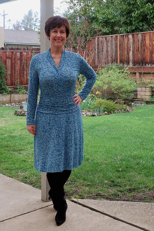 Burda jersey teal dress 3