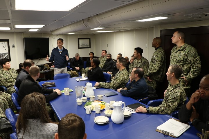 Retired Master Chief Special Warfare Operator Britt Slabinski, the Navy's most recent Medal of Honor recipient, visited the Sailors aboard the Arleigh Burke-class destroyer USS Paul Hamilton (DDG 60) Feb. 21.