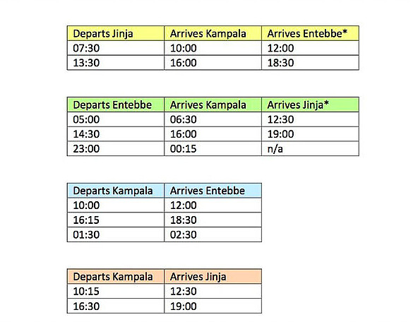 Pineapple Express Timetable
