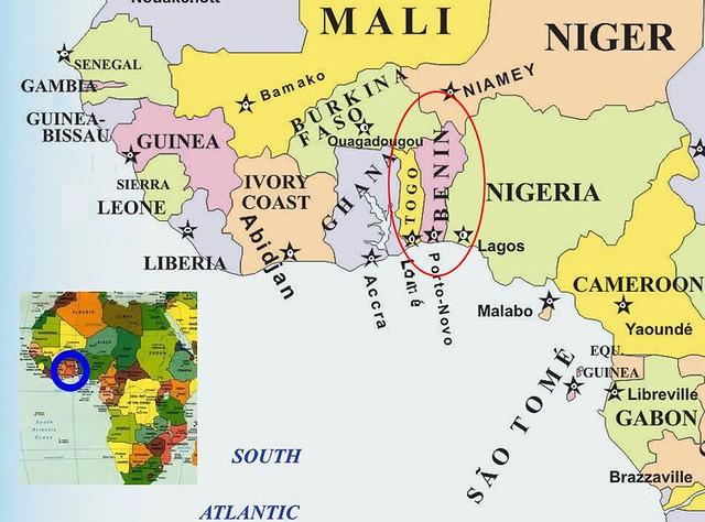 Mapa situación de Benín y Togo en África
