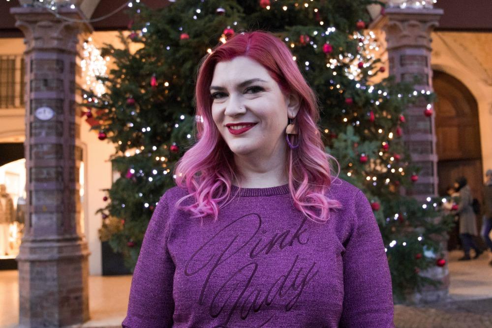 Outfit plus size, curvy, glitter, lamè e viola per Capodanno (6)