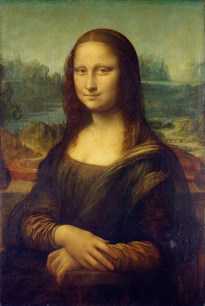 Mona Lisa or La Gioconda by Leonardo da Vinci, oil on poplar wood, 1503–1505/1507. Currently in the collection of the Louvre, Paris, France. Displayed in Salle des États.