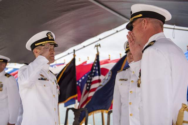 JOINT BASE PEARL HARBOR-HICKAM (JBPHH), Hawaii — Cmdr. Christopher J. Forch relieved Cmdr. Kevin T. Louis as commanding officer of the guided-missile destroyer USS Michael Murphy (DDG 112) in a ceremony held at Joint Base Pearl Harbor-Hickam, March 1.