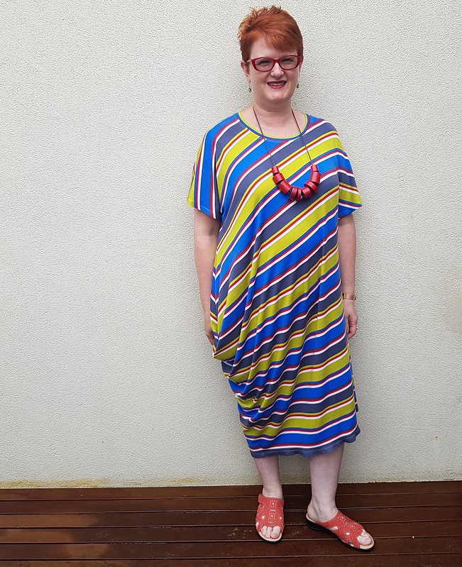 You Sew Girl Draped T dress in viscose knit from The Cloth Shop