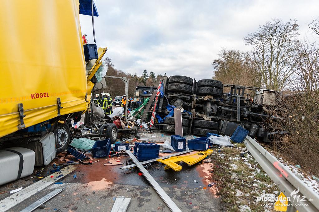 Tödlicher Lkw-Unfall A3 Niedernhausen 10.01.19
