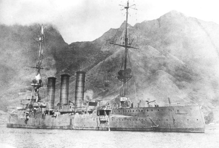 The German light cruiser SMS Dresden in Cumberland Bay, Juan Fernandez Island, just prior to scuttling on March 14, 1915. The white flag of surrender is flying from the foremast.