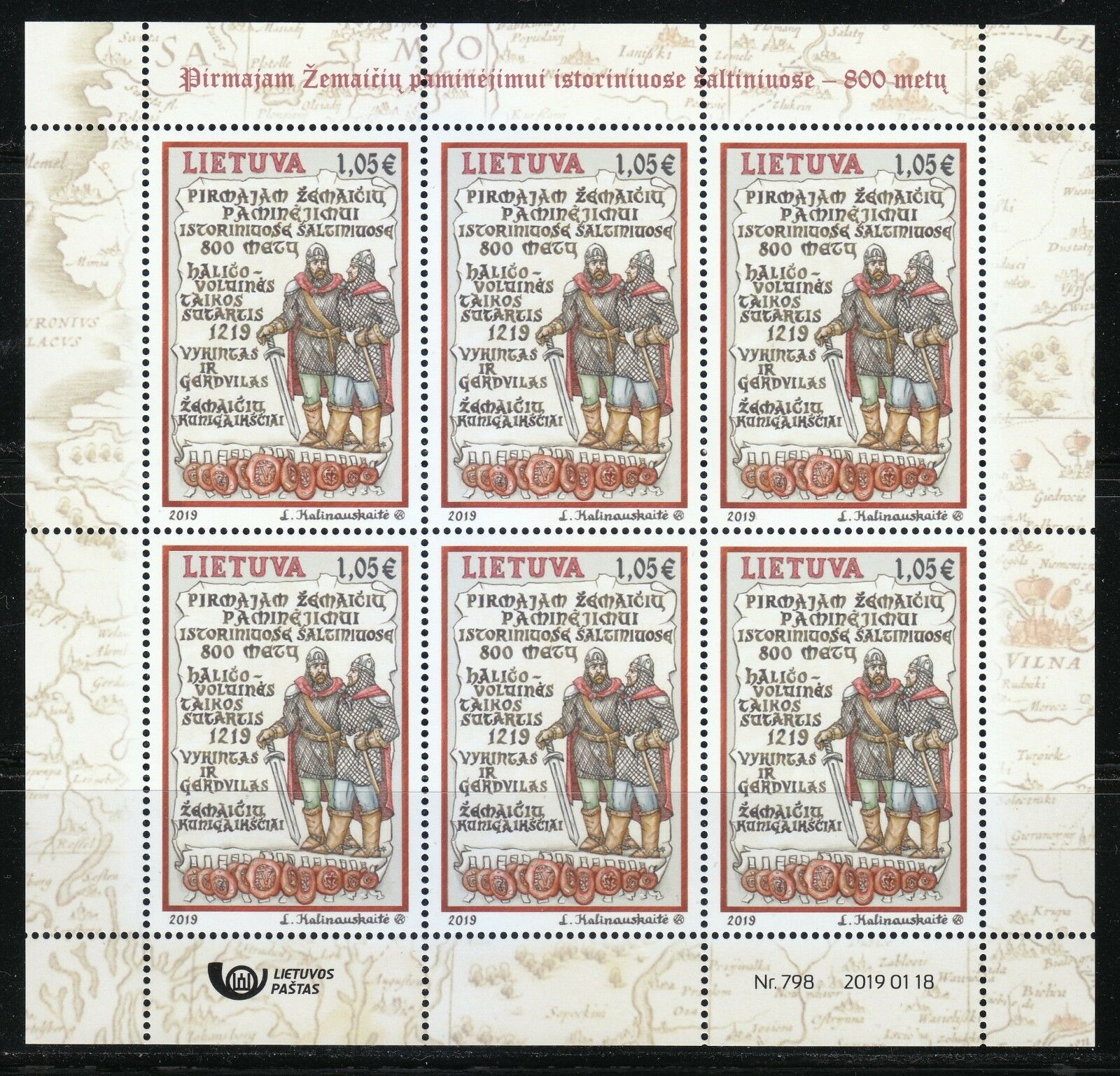 Lithuania - First Mention of Samogitians (January 18, 2019) sheet of 6