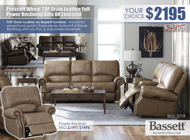Prescott Wheat Top Grain Leather Power Reclining Sofa OR Loveseat Special_Bassett_3179_update