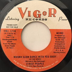 STREET PEOPLE:WANNA SLOW DANCE WITH YOU BABY(AT THE DISCO)(LABEL SIDE-B)