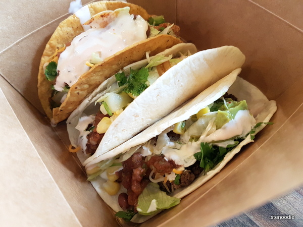 Hard shell fish taco, soft shell chicken taco, soft shell beef taco