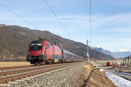 Oberhofen im Inntal | AT-7 (T - Tirol) | 06.02.2019 | ÖBB-1116 203 with train RJX 162 Budapest-Keleti - Zürich HB