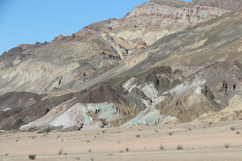 Colorful mineral deposits on Artists Drive in Death Valley