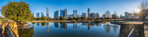 austin butlerpark panorama texas unitedstates reflection downtown skyline tree pool water tx pano flag flagpole morning