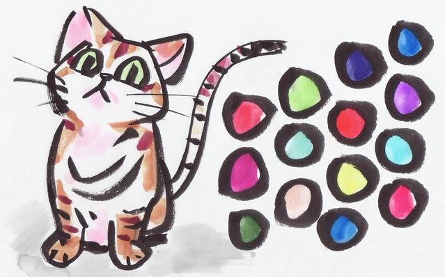 三菱鉛筆 筆ペン 新毛筆 PFK-503 イラスト 漫画 絵手紙 猫
