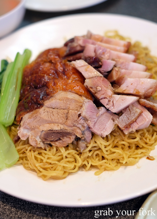 Chinese roast duck and roast pork with noodles at No.  BBQ House in Campsie