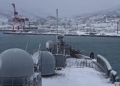 USS Blue Ridge (LCC 19) approaches the pier in Otaru, Feb. 8. (U.S. Navy/MC3 Ethan Carter)
