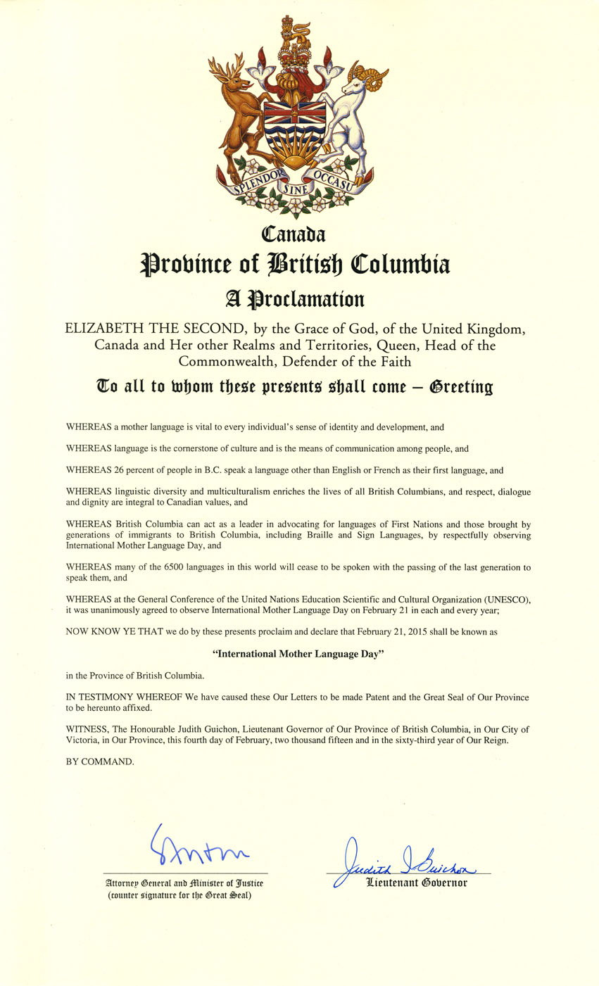 British Columbia proclamation for International Mother Language Day, 2015.