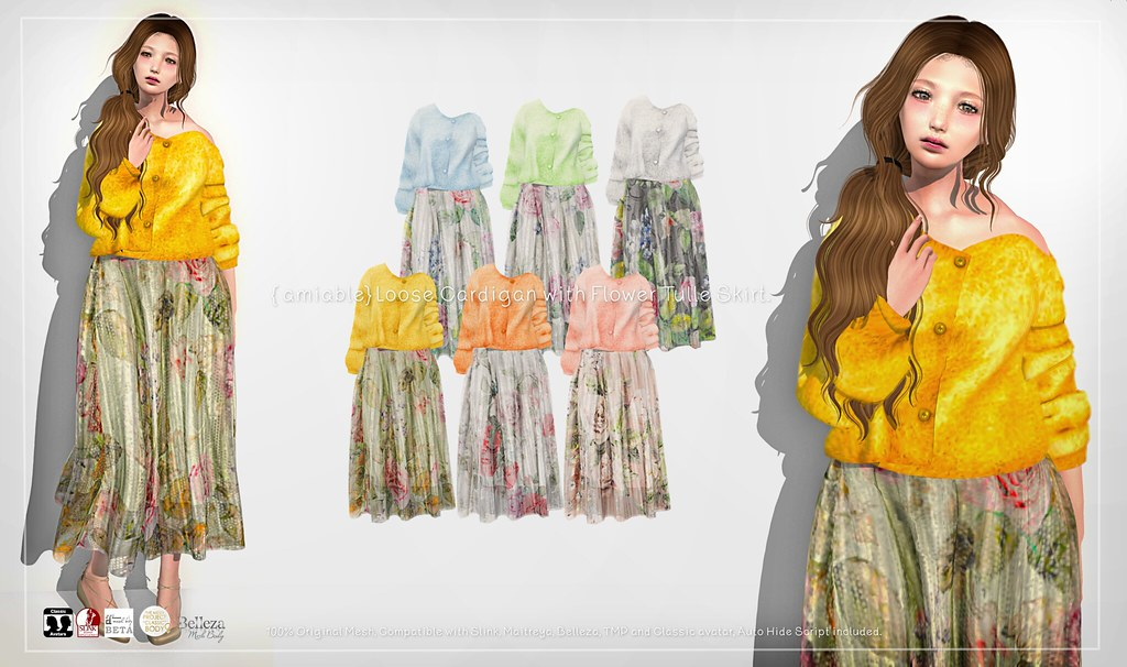 {amiable}Loose Cardigan with Flower Tulle Skirt@ N°21 February(50%OFF SALE). - TeleportHub.com Live!