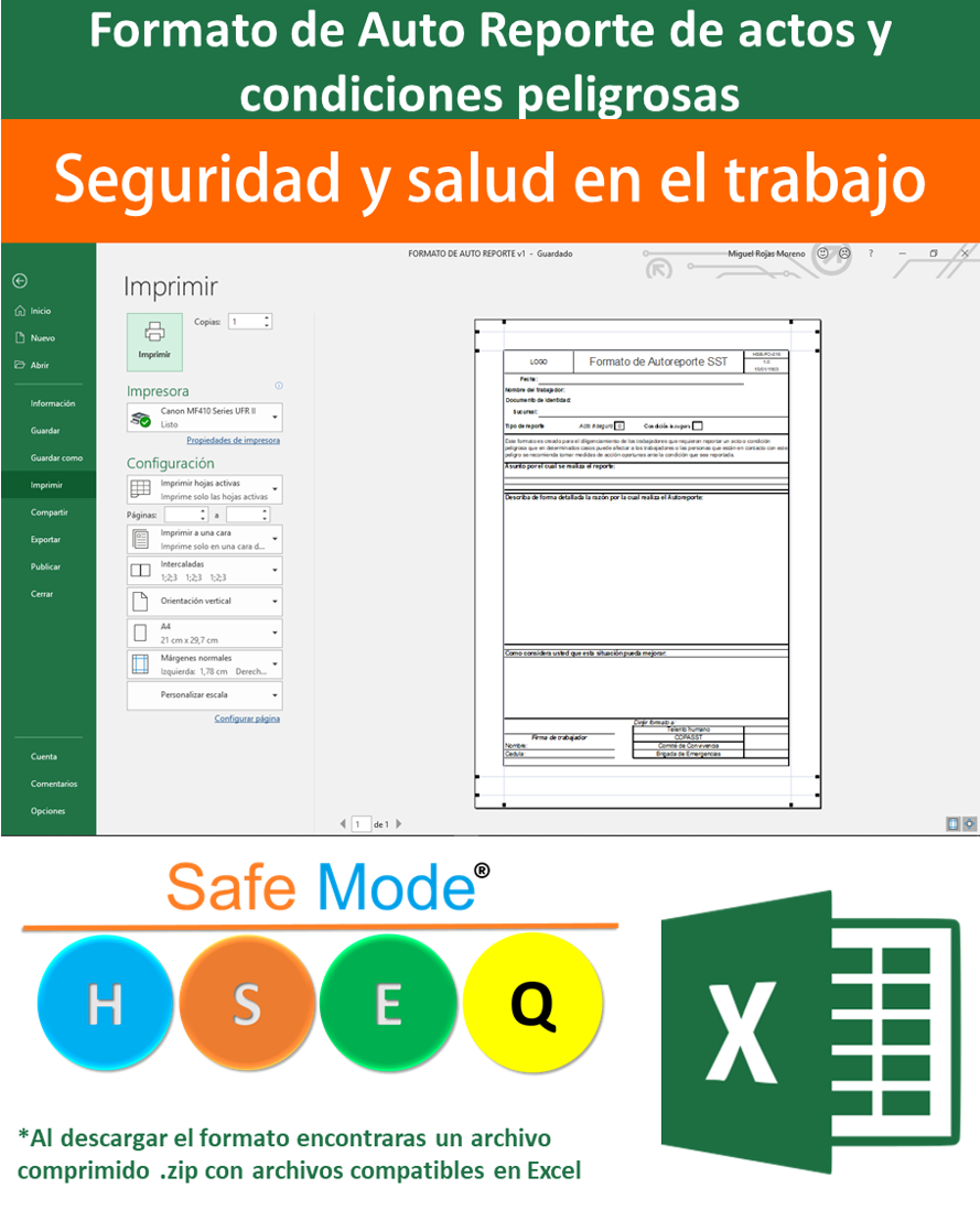Formato  de Auto Reporte de actos y condiciones peligrosas – Excel