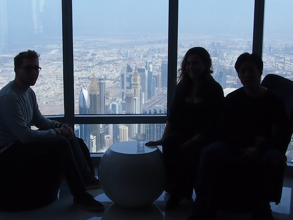 Architecture students enjoy the view from the top of the Burj Khalifa, the world's tallest structure, during a trip to Abu Dhabi.   photo / Jenny Sabin