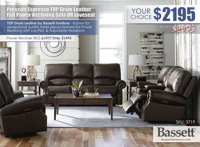Prescott Espresso Top Grain Leather Power Reclining Sofa OR Loveseat Special_Bassett_3179_update